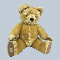 "23"" Vintage CHAD VALLEY Teddy Bear w label on foot and seam"