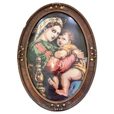 Framed Needlepoint of the Madonna and Child Mary & Jesus