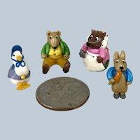 Miniature Dollhouse Figures Peter Rabbit & Beatrix Potter friends  1:12 or 1:24