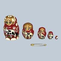 "Miniature 1.25"" Wood Matroyska Nesting Dolls set of 5. Dollhouse 1:12 ally"
