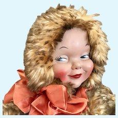 "Fluffy snow bunting teddy Flirty Snow Doll by ""Lovable"" w tag (mask Face)"