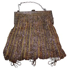 1920's Elegant Vintage Gold Tone BEADED PURSE