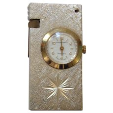 Marxman Precision Swiss Mastercraft Gold Lighter & Clock