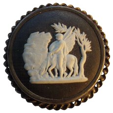 """1963 Wedgwood Black & White, with Pegasus sterling silver """"925"""" cameo brooch"""
