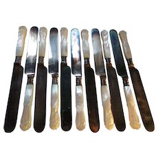 11 Meriden Cutlery #5 MOP Breakfast Knives with Silverplated Blades