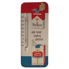 1950's  Marlboro / Philip Morris Thermometer Tobacco Metal Advertisement Sign