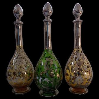 Vintage 1920-30's Art Nouveau Silver Overlay Glass Decanter