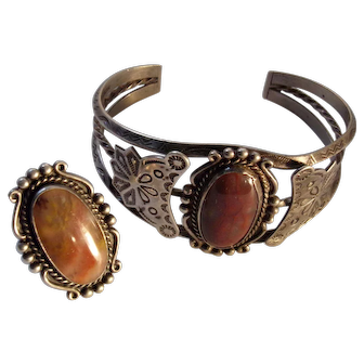 Stunning Vintage Navajo Fred Harvey Petrified Wood Agate Bracelet and Ring