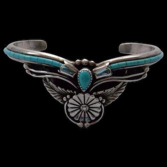 """Signed Navajo """"Eagleboy"""" Turquoise Detailed Bracelet"""