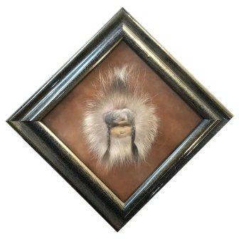 Alaskan Inuit Native Face of Leather and Elk Fur