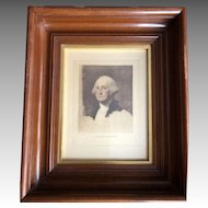 George and Martha Washington in Pair of Beautiful Deep Walnut Frames