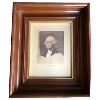 George and Martha Washington in Pair of Beautiful Deep Walnut Frames