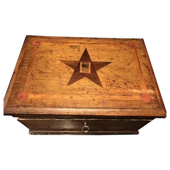 Circa 1880 Inlaid Wood Sewing Box