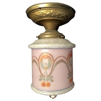 Beautifully Decorated Glass Antique Light Fixture Lamp and Brass Base