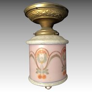 Beautifully Decorated Glass Antique Pendant Light Fixture Lamp and Brass Base