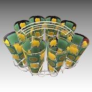 Lemonade Set Metal Holder and Eight Glasses with Painted Lemons