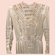 Lacy White Edwardian Long Sleeved Summer Dress