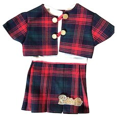 Red Plaid Two Piece Dress Made in France Petitcollin for Hard Plastic or Vinyl