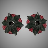 Vintage Cast Iron Holly and Berries Candle Holders