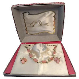 1950's Pink Stone Necklace and Earrings in a Flocked Jewelry Box with Ballerinas