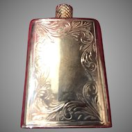 Silver Engraved Perfume Bottle Flask Shaped with Original Spiral Applicator