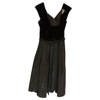1950's Black Velvet and Taffeta Dress