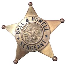 Original Bell and Howell Brass Sergeant Badge 1940's