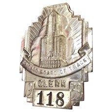 Art Deco Chicago Board of Trade 1939 Badge