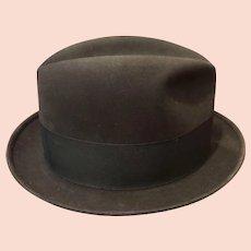 Dobbs Mid Century Charcoal Fedora Hat