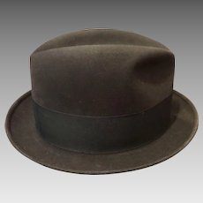 Dobbs Mid Century Charcoal Fedora Hat with Hat Box