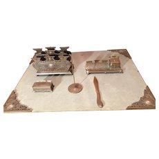 Elegant Jennings Art Nouveau Bronze Desk Set 6 Pieces
