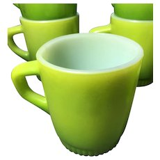 Six Avocado Green Anchor Hocking Fire King Stackable Mugs