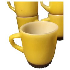 Six Sunny Yellow Fire King Anchor Hocking Mugs