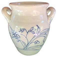 Delicately Painted White Glazed Crock