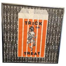 Vintage Halloween Dancing Skeleton Trick or Treat Bag Framed with Glass