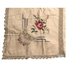 Gorgeous Hand Made Embroidered Rose Tablecloth