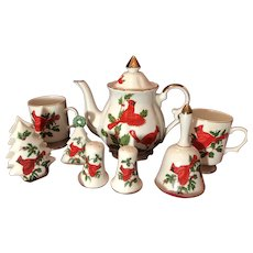 Lefton Christmas Cardinal China Tea Pot,Mugs, Napkin Holder,Salt and Pepper
