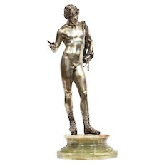 Large Rare Italian Silver Figure Statue of Narcissus, after the Antique 1900