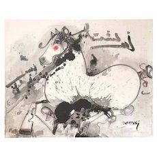 "Nasser Ovissi, (Iranian, Born 1934) ""White Arabian Horse"" Oil on Canvas Painting"
