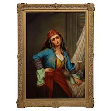 "Oregon Wilson ""Gypsy Dancer"" Orientalist Oil Painting 1870"