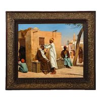 "An Exceptional Orientalist Oil Painting ""The Barber"", Cairo (19th Century)"