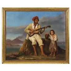 "Italian School, 19th Century, ""Fisherman from Naples"" Oil on Canvas Painting C. 1890"