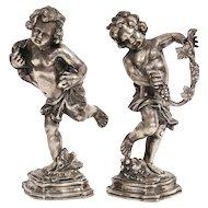 Mario Buccellati, a Pair of Sterling Silver Figures of Playful Children Cherubs