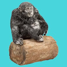Mario Buccellati, a Rare and Exceptional Italian Silver Gorilla Monkey on Base