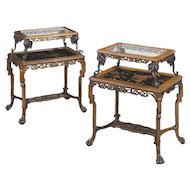 Rare Pair of French Japonisme Bronze, Lacquer, and Hardwood Etageres Tea Tables