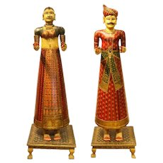 Lifesize Pair of Antique Hand-Painted Indian Figures Dolls Maharaja and Maharani
