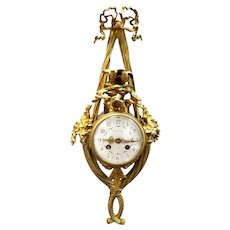 Louis XVI Style French Gilt-Bronze Cartel Wall Clock Retailed by Tiffany and Co.