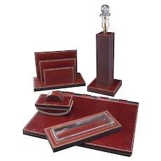 Hermes Paris Leather Desk Set and Lamp Designed by Paul Dupre-Lafon, circa 1940