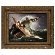 "Exceptional Quality Berlin K.P.M Porcelain Plaque ""Kiss of the Wave"""