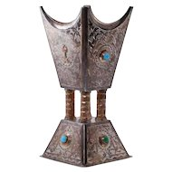 Saudi Arabian Islamic Silver and Gold Incense Bukhur Burner with Turquoise